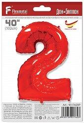 Шар (40''/102 см) Цифра, 2, Красный, 1 шт. в упак.