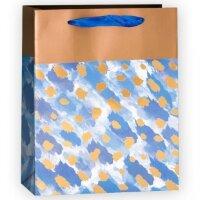 Пакет подарочный, Золотые штрихи, Голубой, 32*26*12 см, 1 шт.