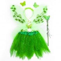 Набор (ободок, крылья, юбочка, волшебная палочка) Маленькая Фея, Зеленый, 1 шт.