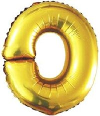 Шар (40''/102 см) Буква, O, Золото, 1 шт.