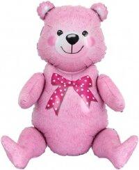 Шар (22''/56 см) Фигура, Сидячий мишка, Розовый, 1 шт. в упак.