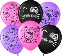 Шар (12''/30 см) Hello Kitty, С Днем Рождения!, Ассорти, пастель, 2 ст, 25 шт.