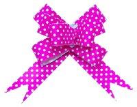 Бант Бабочка, Белые точки, Розовый, 8 см, 10 шт.