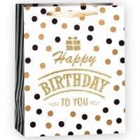 Пакет подарочный, С Днем Рождения (конфетти), Белый, с блестками, 23*18*10 см, 1 шт.