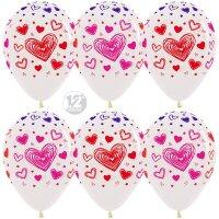 Шар (12''/30 см) Разноцветные сердца, Прозрачный (390), кристалл, 5 ст, 50 шт.