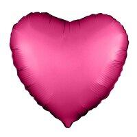 Шар (19''/48 см) Сердце, Гранатовый, Сатин, 1 шт.