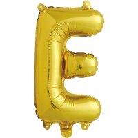 Шар с клапаном (16''/41 см) Мини-буква, Е, Золото, 1 шт. в упак.