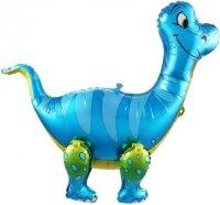 Шар (25''/64 см) Ходячая Фигура, Динозавр Брахиозавр, Синий, 1 шт. в упак.