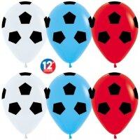 Шар (12''/30 см) Футбольный мяч, Триколор (005/015/041), пастель, 5 ст, 12 шт.