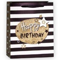 Пакет подарочный, С Днем Рождения (звезды), Черный, с блестками, 23*18*10 см, 1 шт.