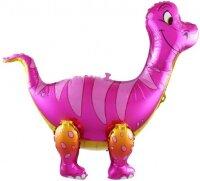 Шар (25''/64 см) Ходячая Фигура, Динозавр Брахиозавр, Розовый, 1 шт. в упак.