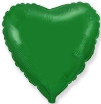Шар (18''/46 см) Сердце, Зеленый, 1 шт.
