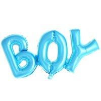 "Шар (33''/84 см) Фигура, Надпись ""Boy"", Голубой, 1 шт."