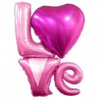 """Шар (41''/104 см) Фигура, Надпись """"LOVE"""", Розовый, Голография, 1 шт."""