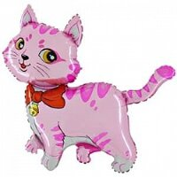 Шар (13''/33 см) Мини-фигура, Милый котенок, Розовый, 5 шт.