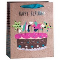 Пакет подарочный, С Днем Рождения (торт), Крафт, 23*18*10 см, 1 шт.