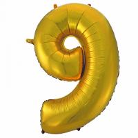 Шар с клапаном (16''/41 см) Цифра, 9, Золото, 5 шт.