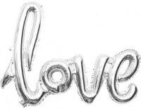 "Шар (41''/104 см) Фигура, Надпись ""Love"", Серебро, 1 шт."