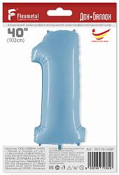 Шар (40''/102 см) Цифра, 1, Голубой, 1 шт. в упак.