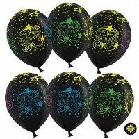 Шар (12''/30 см) С Днем Рождения (разноцветные звезды, кометы), Черный (299), пастель, 5 ст, 50 шт.