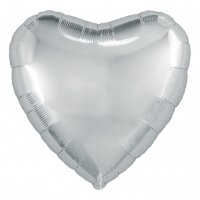 Шар (18''/46 см) Сердце, Серебро, 1 шт.
