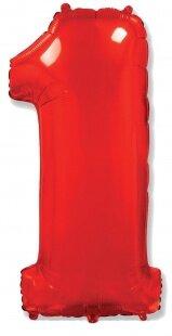 Шар (40''/102 см) Цифра, 1, Красный, 1 шт.
