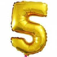 Шар с клапаном (16''/41 см) Цифра, 5, Золото, 5 шт.